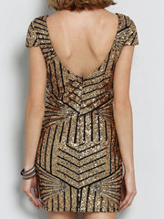 Sexy Club Striped Sequined Open Back Bodycon Dresses