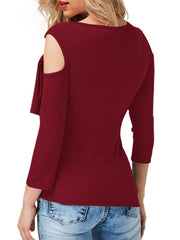 Sexy Cold Shoulder Casual Tops Long Sleeve Asymmetrical Hem Tee Shirt