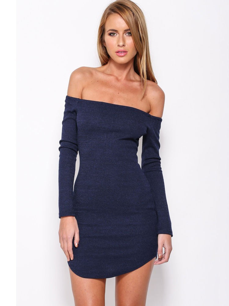 Sexy Threaded Knit Long-sleeved Zip Mini Off Shoulder Dress