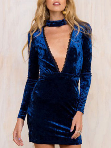 Sexy Deep V Neck Long Sleeve Velvet Short Bodycon Choker Dress