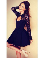 Sexy Lace Club Backless Mini Black Dress with Long Sleeve