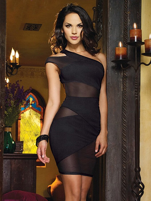 Sexy Lingerie Single Shoulder Mesh Nightclub Party Bodycon Dress