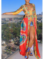 Sexy Long Dashiki Print Split Deep V-neck Maxi Swing African Dress