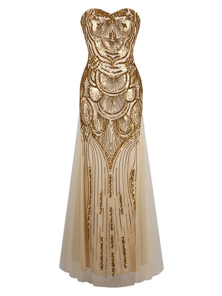 1920s Great Gatsby Long Inspired Vintage Prom Dress