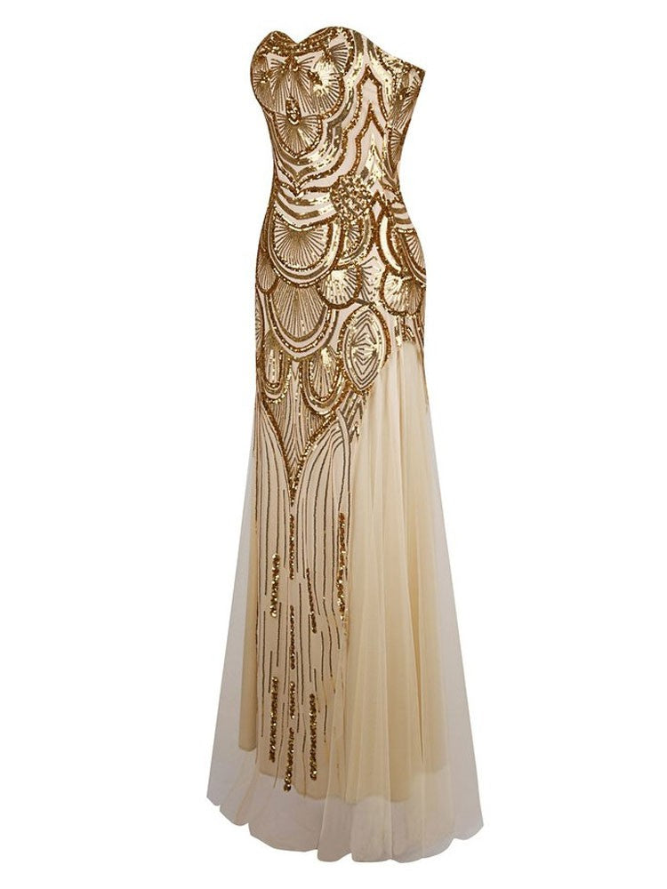 1920s Great Gatsby Long Inspired Vintage Prom Dress Vschic