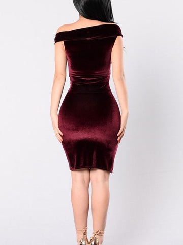 Sexy Off the Shoulder Burgundy Short Bodycon Club Party Dress