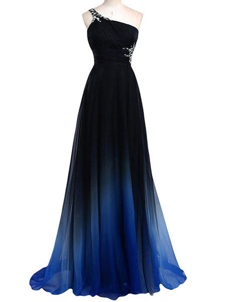 Sexy One Shoulder Beading Chiffon Party Long Prom Evening Maxi Dress