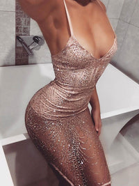 Sexy Pink Rhinestone Gauze Midi Slit Club Bodycon Dress