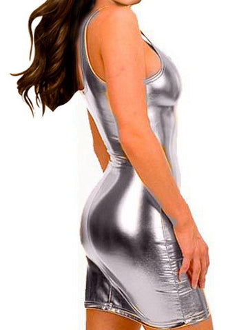 Sexy PU Leather Bodycon Club Dress
