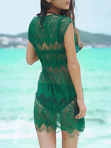 Green Summer See-through Cover-ups V-neck Flounce Beach Lace Dress