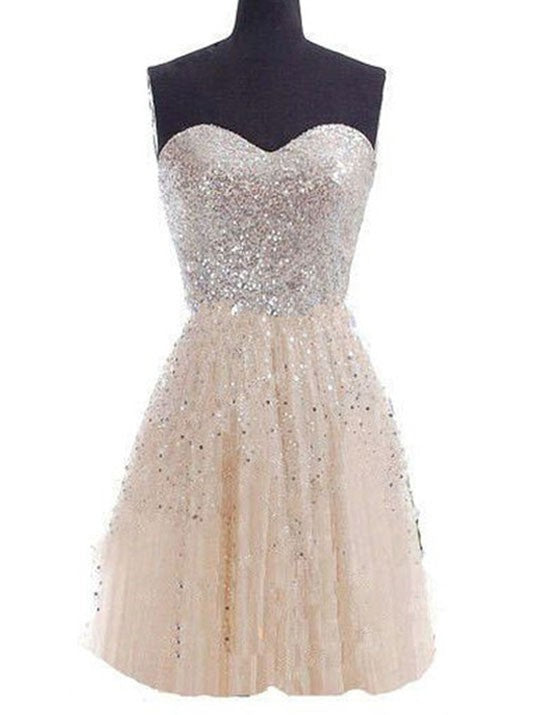 Sexy Short Homecoming Gowns Champagne Sequins Prom Dress