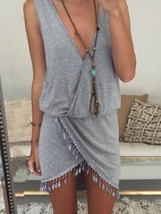 Sexy V-neck Vintage Irregular Tassel Summer Short Dress