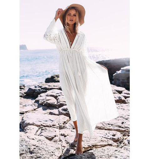 Sexy Summer White Lace Long Sleeve Maxi Dress Boho Long Tunic Beach Dress