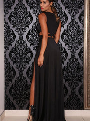 Deep V Neck Sexy Long Dress High Slit Double Slit Maxi Dress