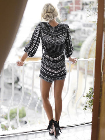 Sexy Black Print V-neck Long Sleeve Rompers without Belt