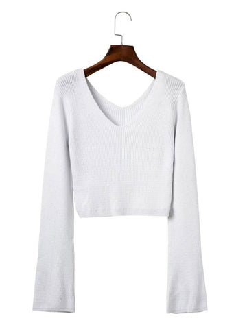 Sexy V-neck Cotton Long Horn Sleeve Knit Short Sweater