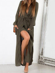 Sexy V Neck Long Sleeve Chiffon Maxi Slit Dress with Belt