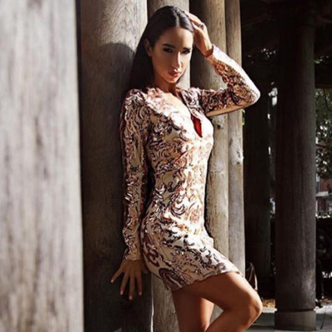 4c8f8ecb01ce Sexy V Neck Long Sleeve Silver Gold Sequined Mini Party Club Short Bodycon  Dress