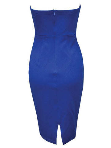 Sexy Club V-neck Open Back Midi Party Bodycon Tube Dress