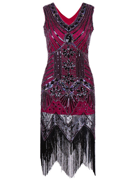 1920s Great Gatsby Vintage Tassel Beaded & Sequined Flapper Dress