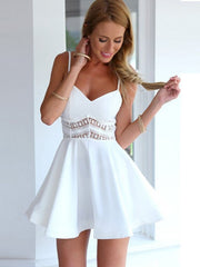 Sexy A-Line V Neck Lace Paneled Short Skater Dress