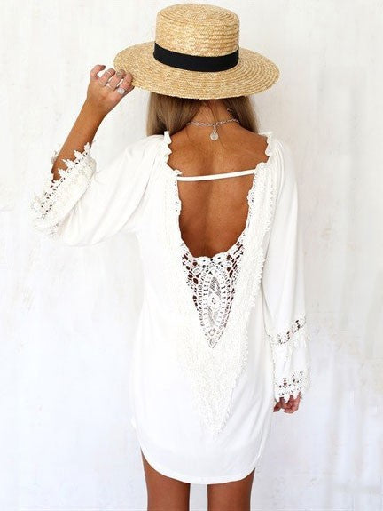 5768bc3f5182 Sexy White Lace V-neck Summer Backless Bell Sleeve Dress – VSChic