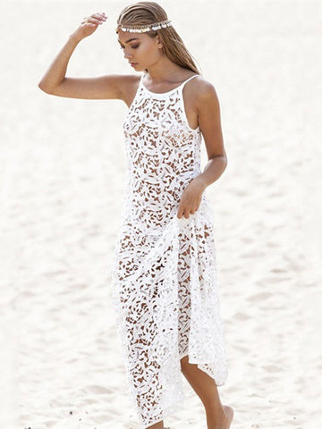 White Summer Cover-Ups Hollow Beach Smock Long Maxi Dress