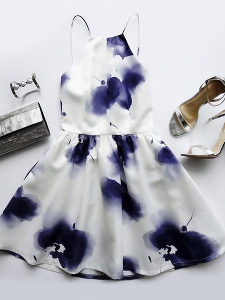 Summer Sexy Short A-line White Dress with Purple Flowers