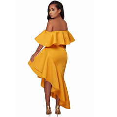 Sexy Yellow Off Shoulder Short Sleeve High Low Ruffle Party Dress