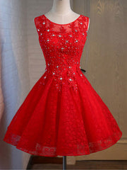 Short Graduation Lace Beading Valentines Day Bridesmaid Evening Dress