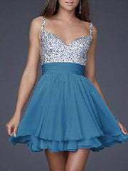 Sequined Short Homecomimg V-neck Open Back Prom Evening Dress