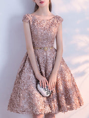 Embroidery Short Homecoming Bridesmaid Evening Gown Graduation Dress