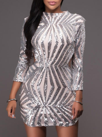 Sexy Backless Sequin Long Sleeve Embroidery Short Club Bodycon Dress