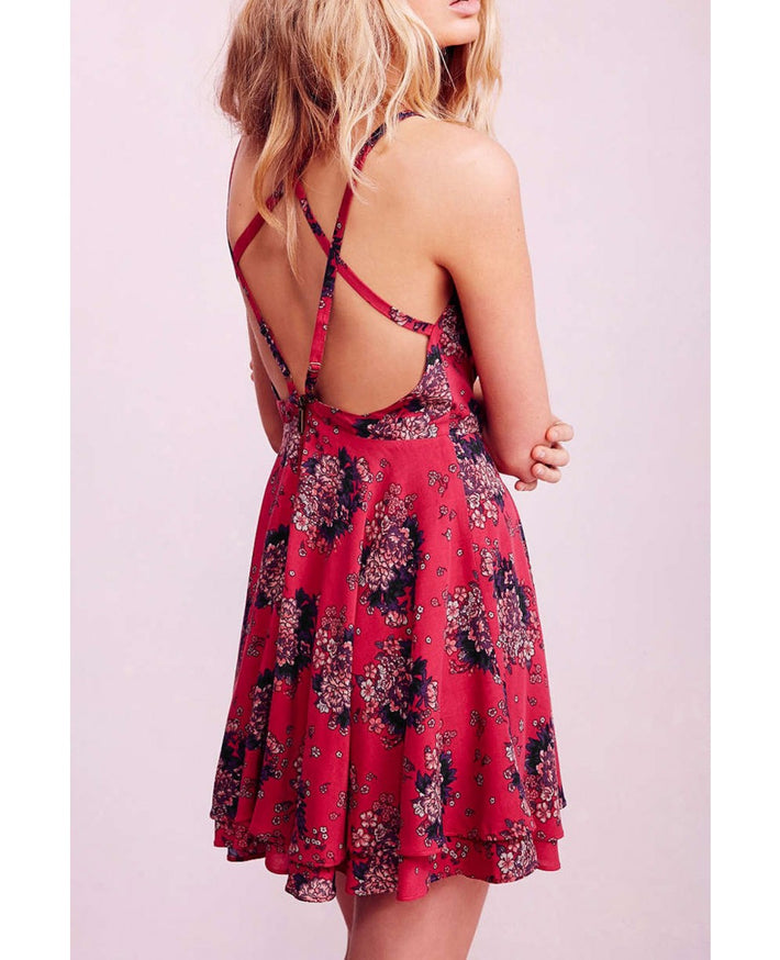 Sexy Summer Red Short Backless Floral Criss Cross Dress