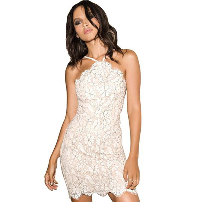 0459be98546 Sleeveless Halter Party White Floral Lace Elegant Mini Dress – VSChic
