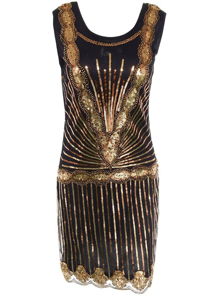 1920s Flapper Great Gatsby Sleeveless Sequins Gold Vintage Dress