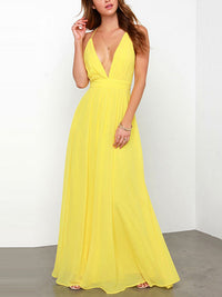 Yellow Spaghetti Strap Deep V Neck Backless Prom Maxi Dress