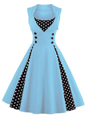 Rockabilly Vintage Polka Dot Pin up Swing Cocktail Party Dress