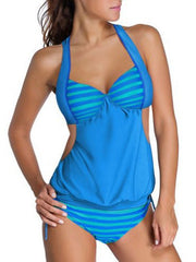 Striped Halter String Tankini Sets Swimsuit Cut Out Patchwork Swimwear