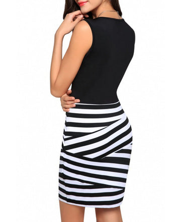 Sexy Black and White Striped V Neck Sleeveless Bodycon Party Dress
