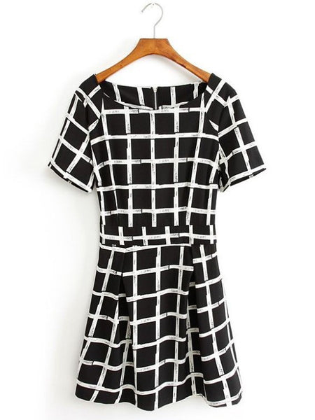 Casual Round Collar Short Sleeves Square Print Dress