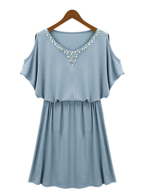 Summer Beaded Strapless Elastic Waist Cold Shoulder Short Dress