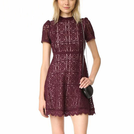Summer Casual A-line Mini Lace Dresses Elegant O-neck Short Sleeve Swing Short Dress