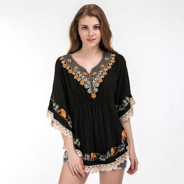 Summer Casual Crochet Lace Embroidery Batwing Sleeve Plus Size