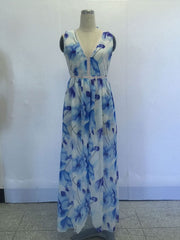 Summer Chiffon Blue Flowers Printed V-neck Maxi Split Dress