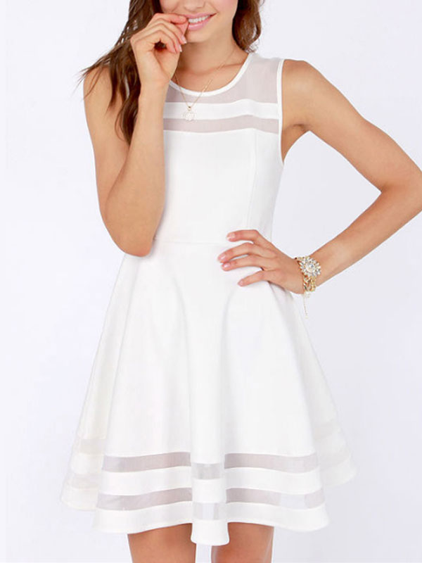 Summer Dress Gauze Stitching Openwork Linen Short White Dress