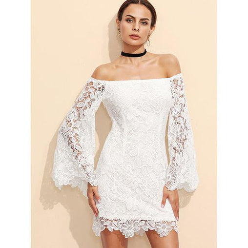 Summer Floral Lace Embroidery Off Shoulder Long Sleeve Mini Bodycon Dress Short White Dress
