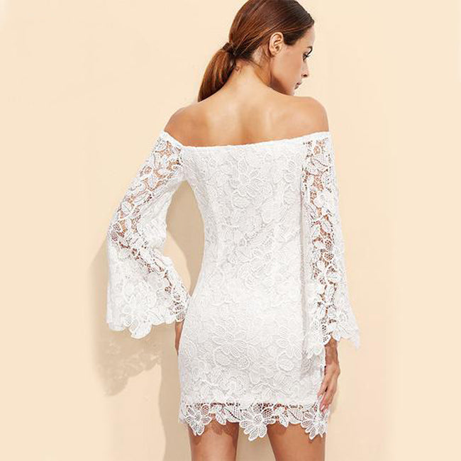 Summer Floral Lace Embroidery Off Shoulder Long Sleeve