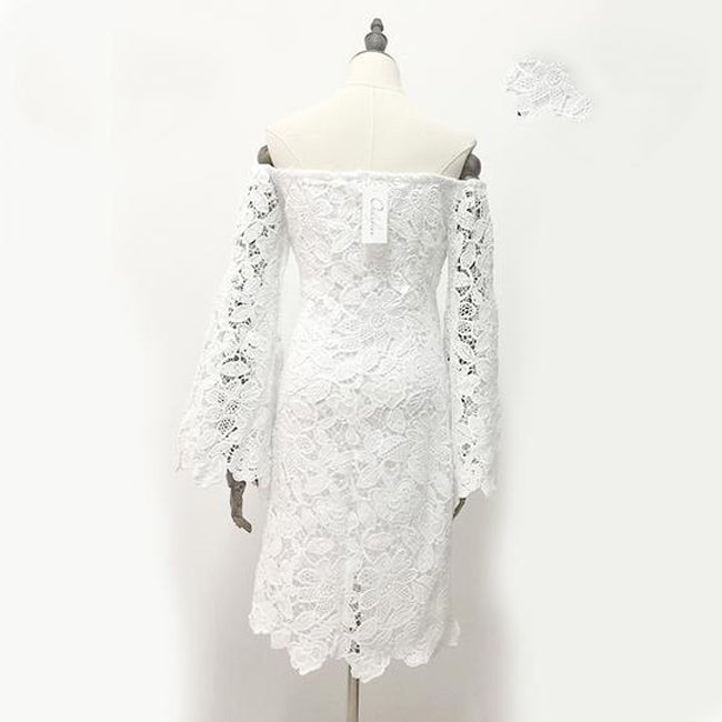 d77d6e9be Summer Floral Lace Embroidery Off Shoulder Long Sleeve Mini Bodycon Dress  Short White Dress
