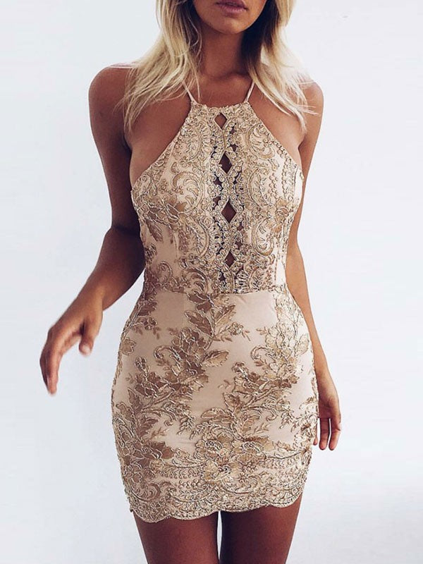 Summer Gold Backless Lace Hollow Halter Short Club Bodycon Dress